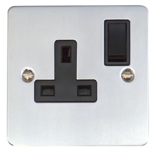 G&H FC9B Flat Plate Polished Chrome 1 Gang Single 13A Switched Plug Socket